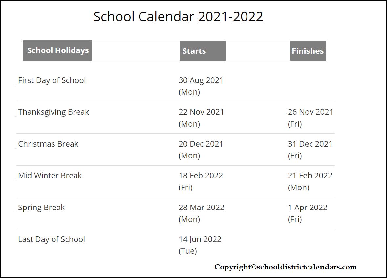 San Diego County School District Proposed Calendar 2021-2022