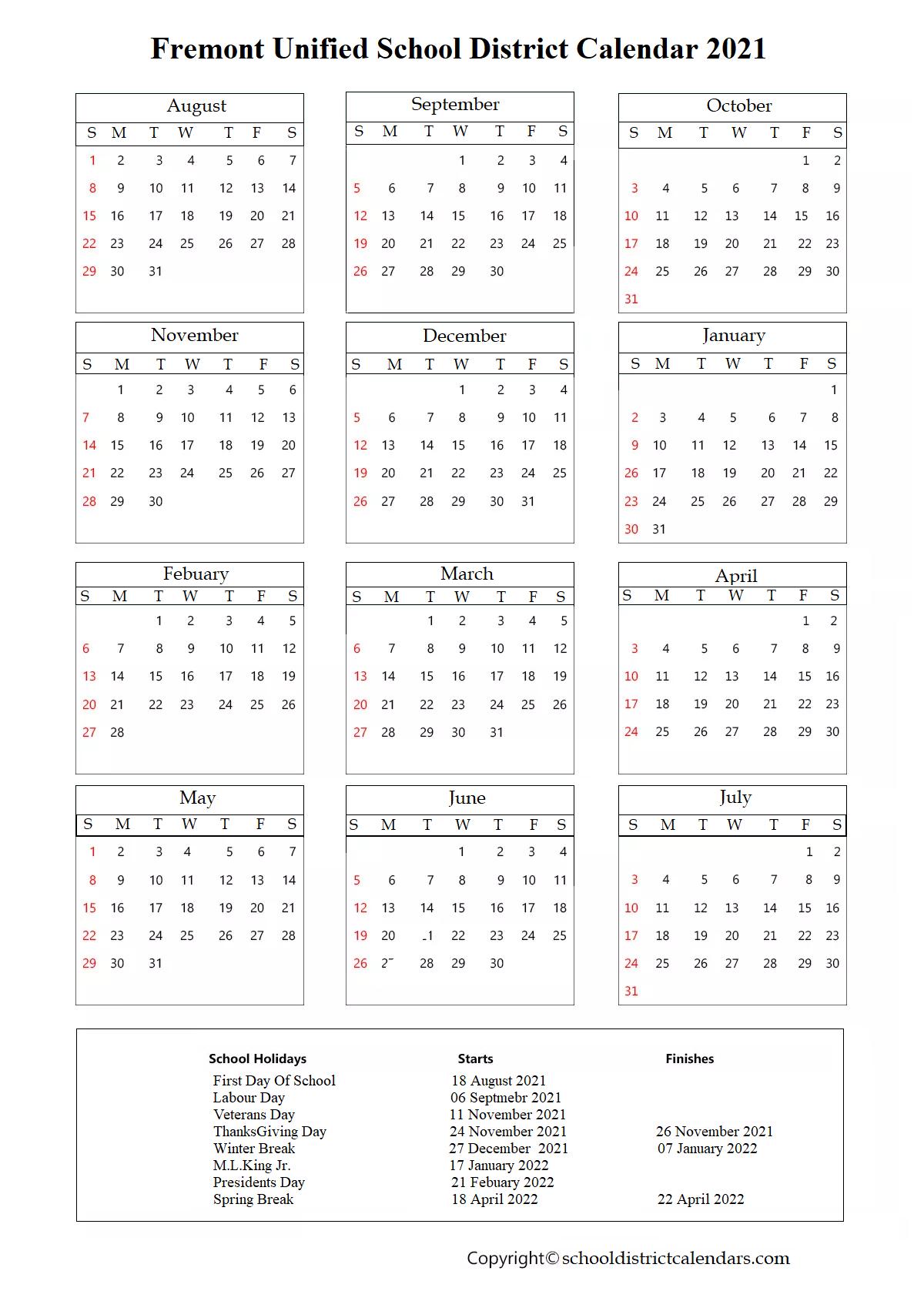 Fremont Unified School District Calendar 2021