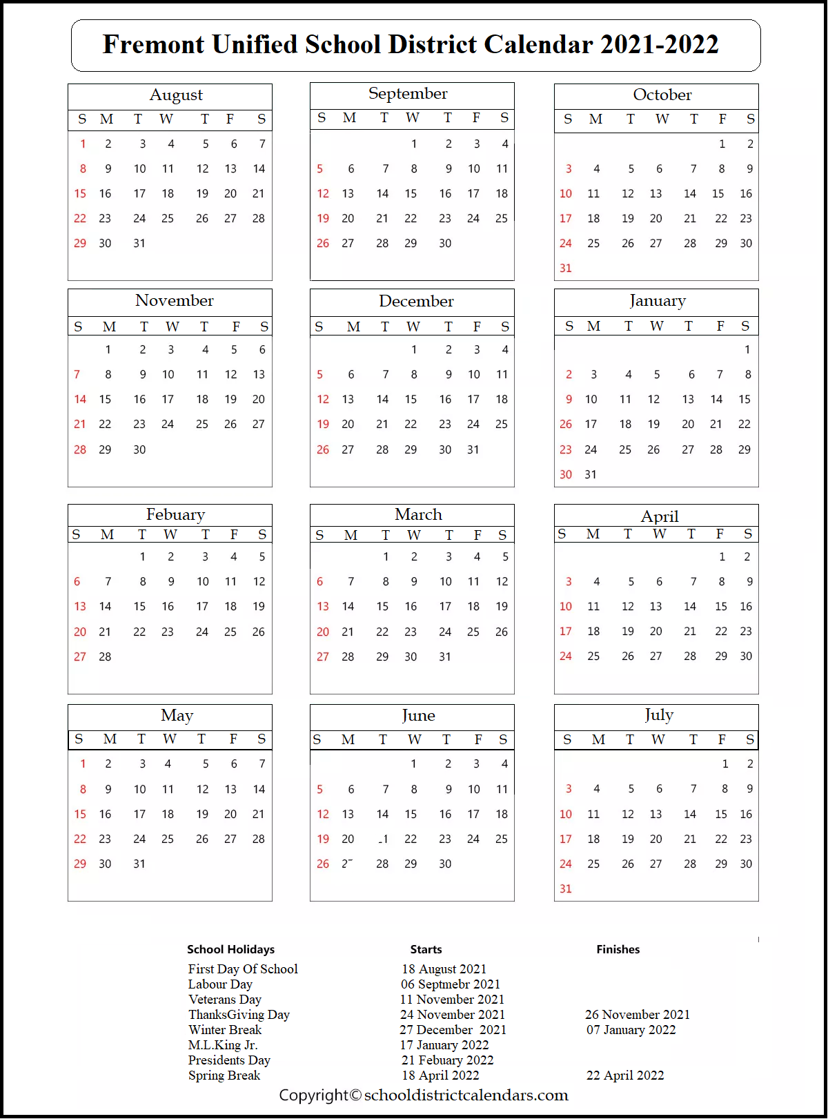 Fremont Unified School District Calendar