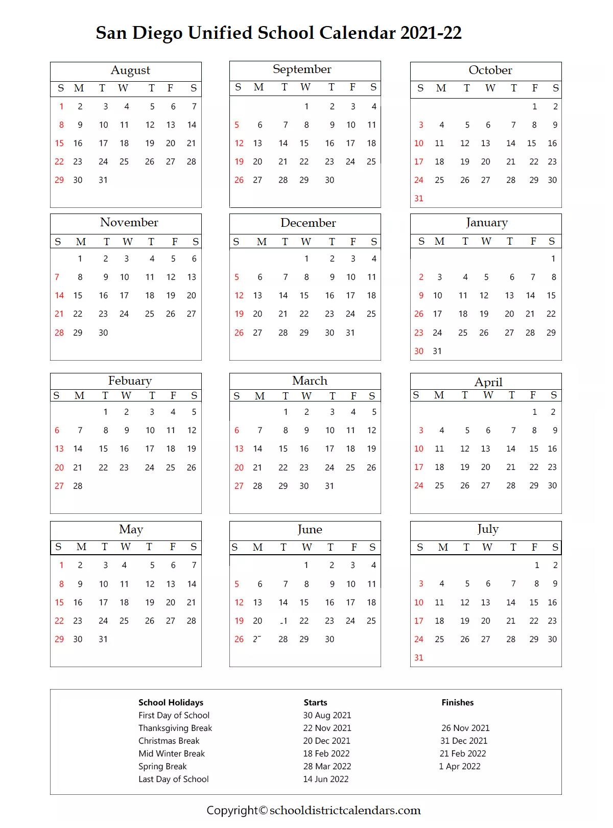 San Diego Unified School District Calendar 2021