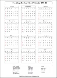 San Diego Unified School District Calendar