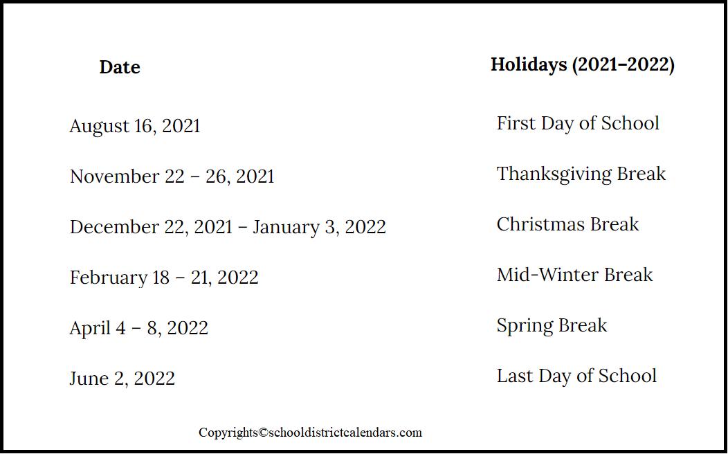 Alpine County School District Proposed Calendar 2021-2022