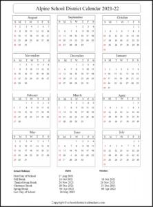 Alpine School District Calendar 2021
