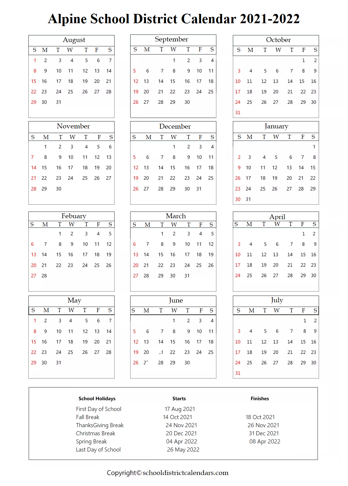Alpine School District Calendar Holidays 2021-22