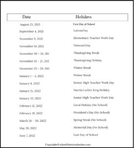 Davis County School District Proposed Calendar 2021-2022
