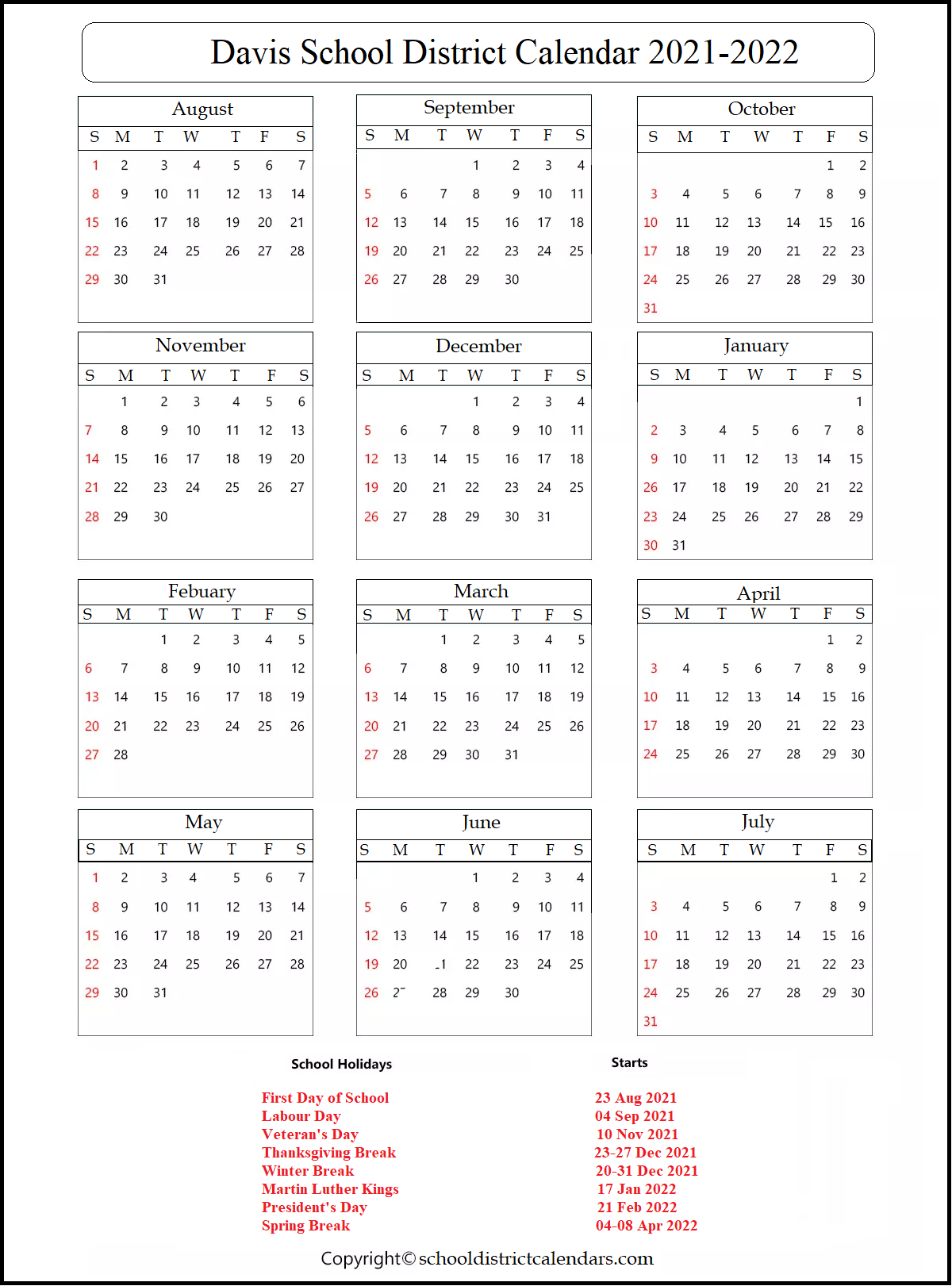 Davis School District Calendar 2021-2022