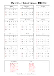 Davis School District Calendar Holidays 2021-2022