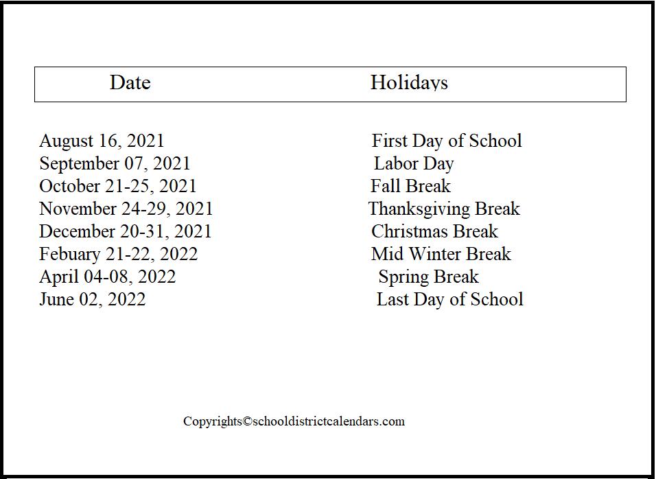 Granite County School District Proposed Calendar 2021-2022
