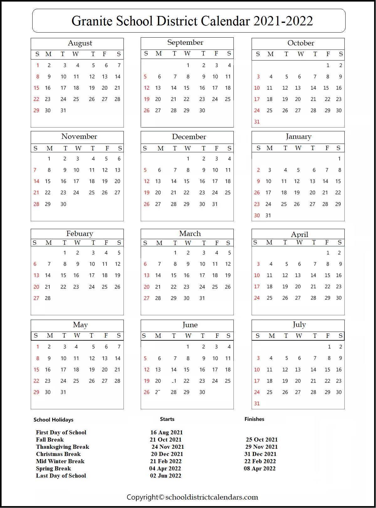 Granite School District Calendar 2021-2022
