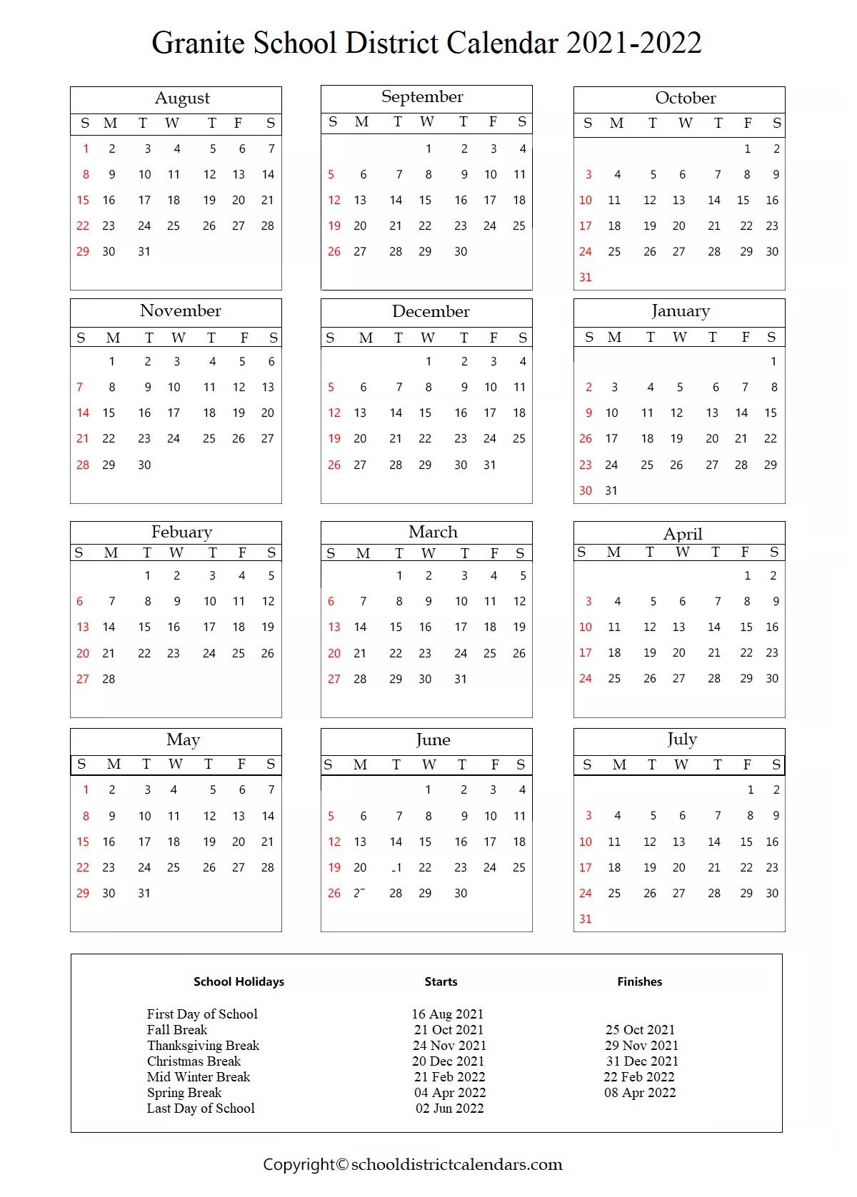 Granite School District Calendar Holidays 2021-2022