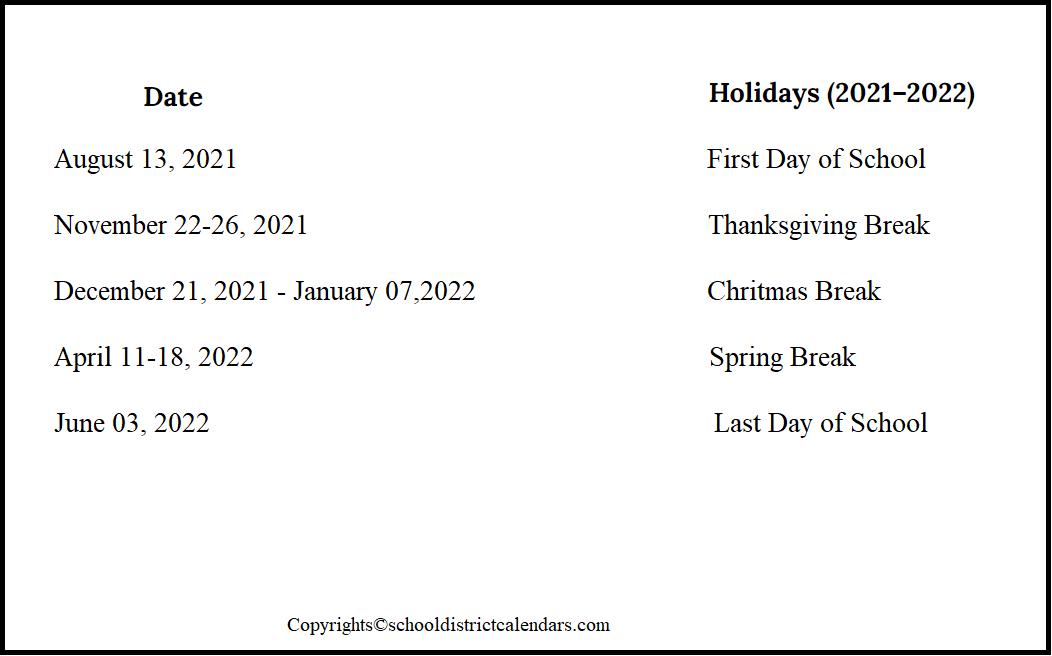 Visalia Unified County School District Proposed Calendar 2021-2022
