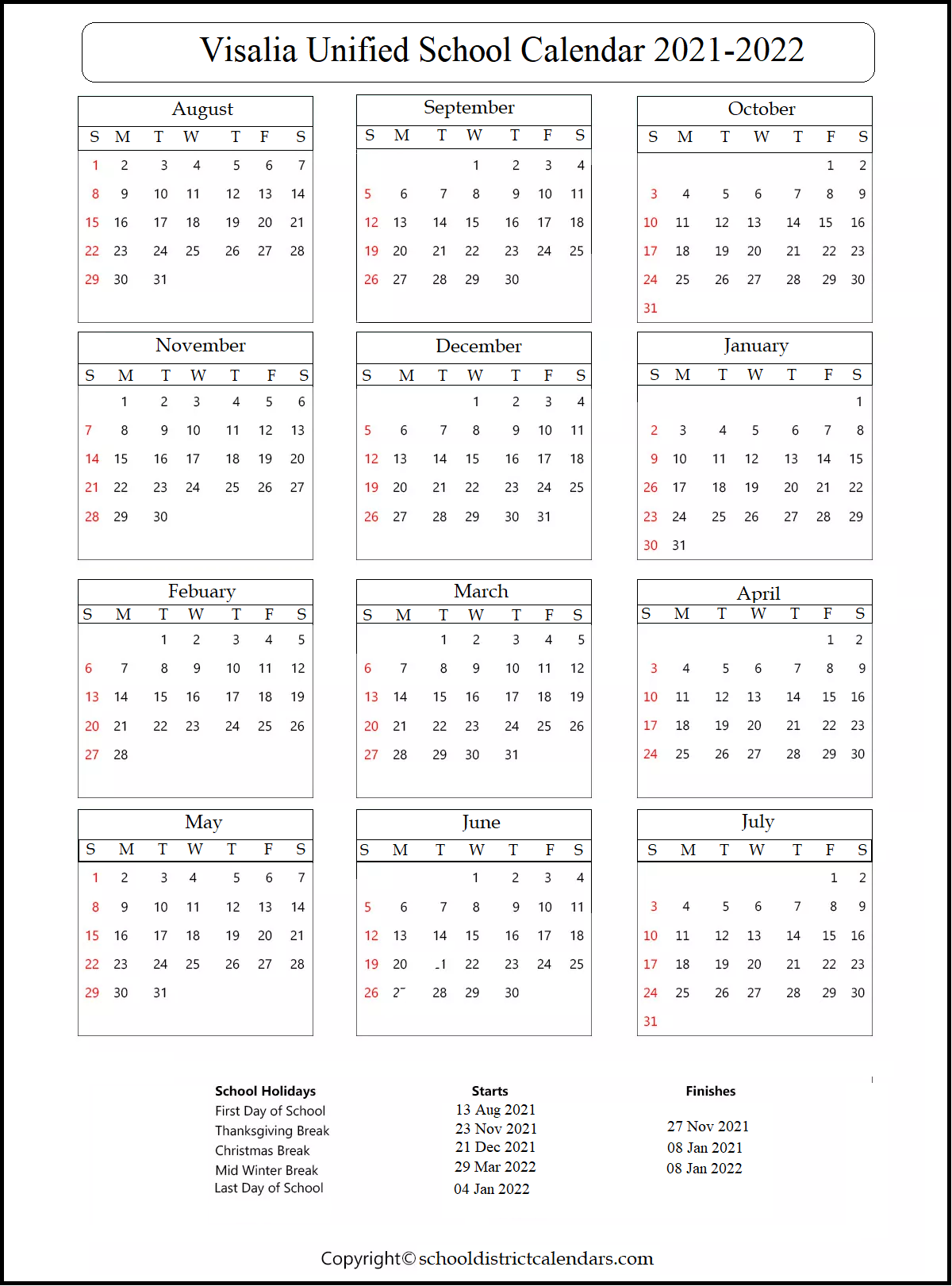 Visalia Unified School District Calendar 2021-2022,Visalia Unified School District Calendar
