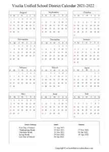 Visalia Unified School District Calendar Holidays 2021