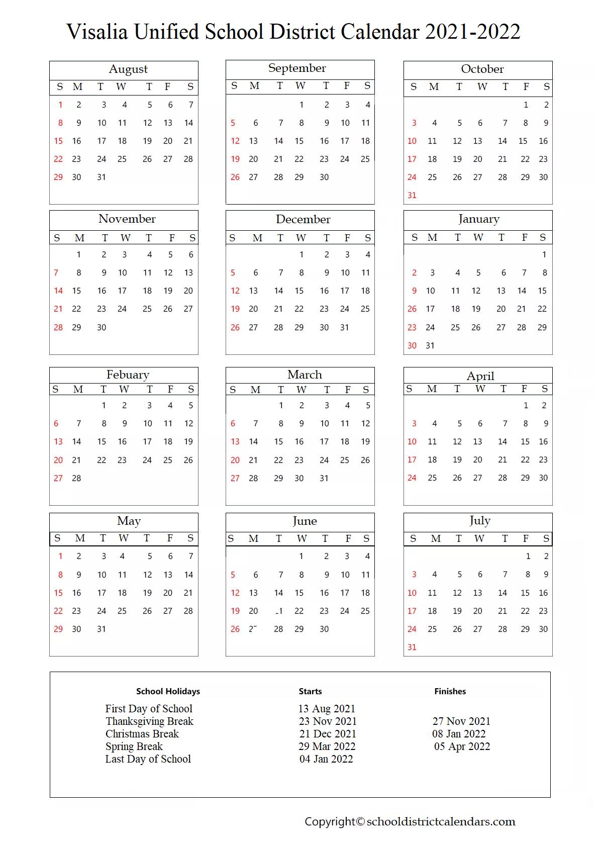 Visalia Unified School District Calendar Holidays 2021, California Calendar Holidays 2021