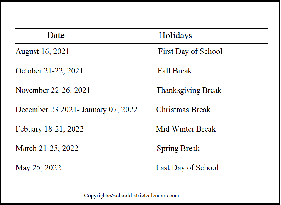 Boise County School District Proposed Calendar 2021-2022