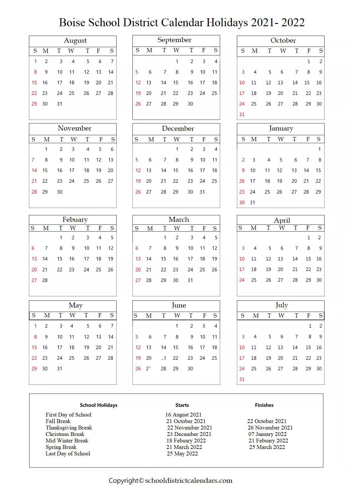 Boise School District, Idaho Calendar Holidays 2021-2022