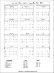 Jordan School District Calendar 2021-2022