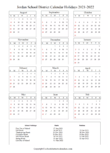 Jordan School District Calendar Holidays 2021-2022