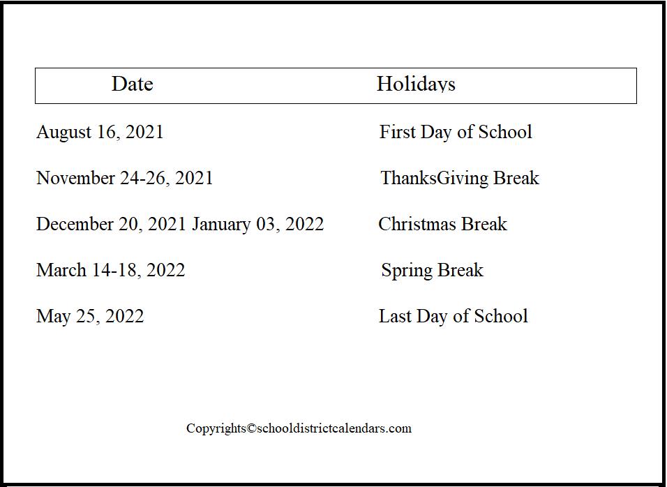 Poudre County School District Proposed Calendar 2021-2022