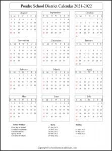 Poudre School District Calendar 2021-2022