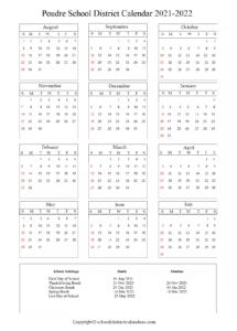 Poudre School District Calendar Holidays 2021-2022