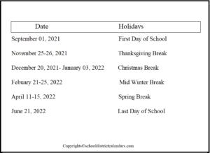 Bellevue County School District Proposed Calendar 2021-2022