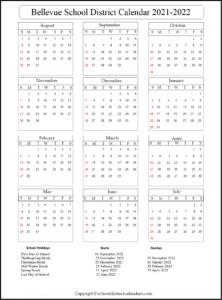 Bellevue School District Calendar 2021-2022