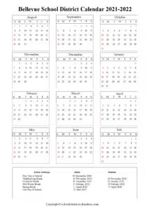 Bellevue School District, Washington Calendar Holidays 2021-2022
