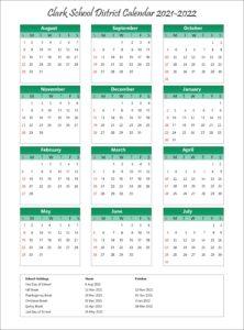 Clark School District Calendar 2021-2022