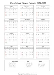Clark School District Holidays 2021 Calendar
