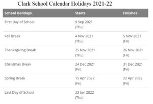 Clark School District, New Jersey Calendar Holidays 2021-22