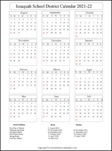 Issaquah School District Calendar 2021-22