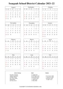 Issaquah School District, Washington Calendar Holidays 2021-22