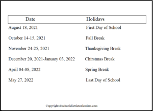 Nebo County School District Proposed Calendar 2021-2022