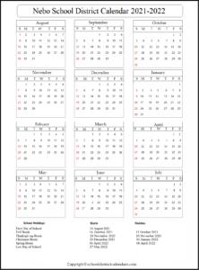 Nebo School District Calendar 2021-2022