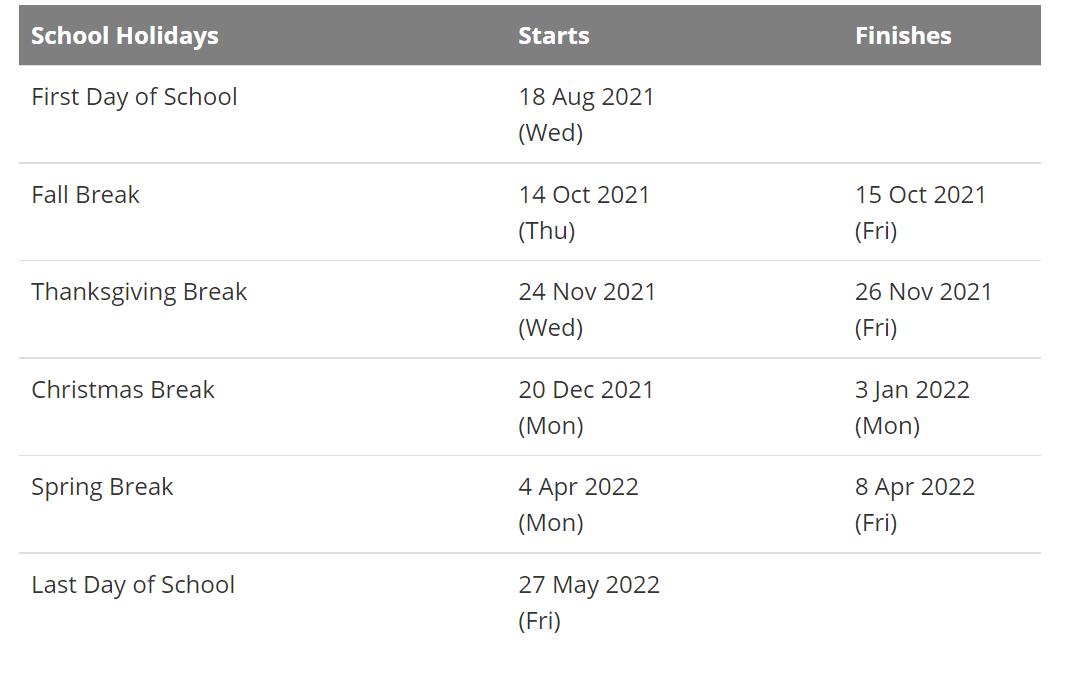 Nebo School District Holidays Calendar 2021-2022