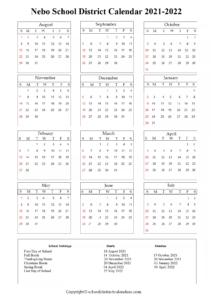 Nebo School District, Utah Calendar Holidays 2021-2022