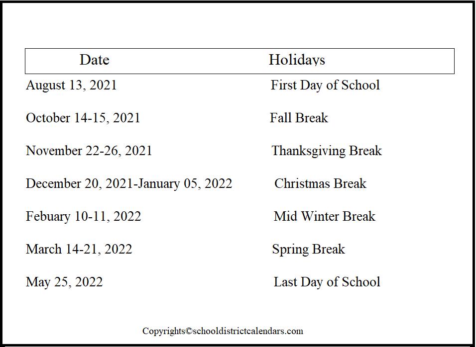 Olathe County School District Proposed Calendar 2021-2022