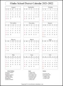 Olathe School District Calendar 2021-2022