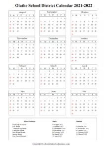 Olathe School District, Kansas Calendar Holidays 2021-2022
