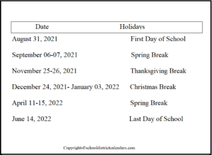 Philadelphia County School District Proposed Calendar 2021-2022