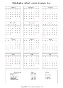 Philadelphia School District, Pennsylvania Calendar Holidays 2021
