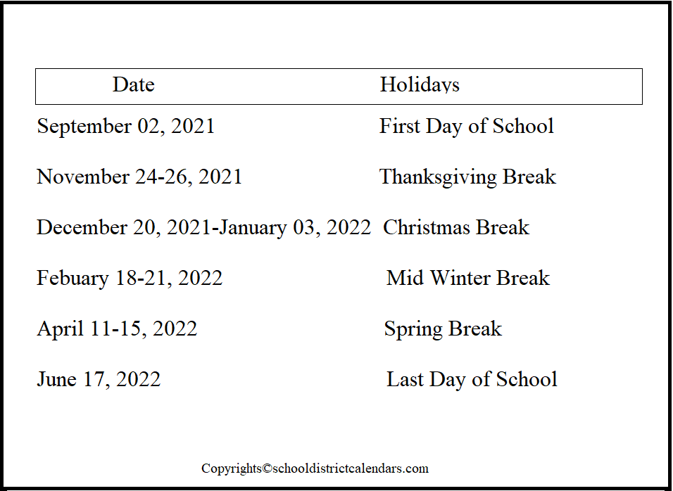 Puyallup County School District Proposed Calendar 2021-2022
