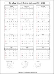 Puyallup School District Calendar 2021-2022