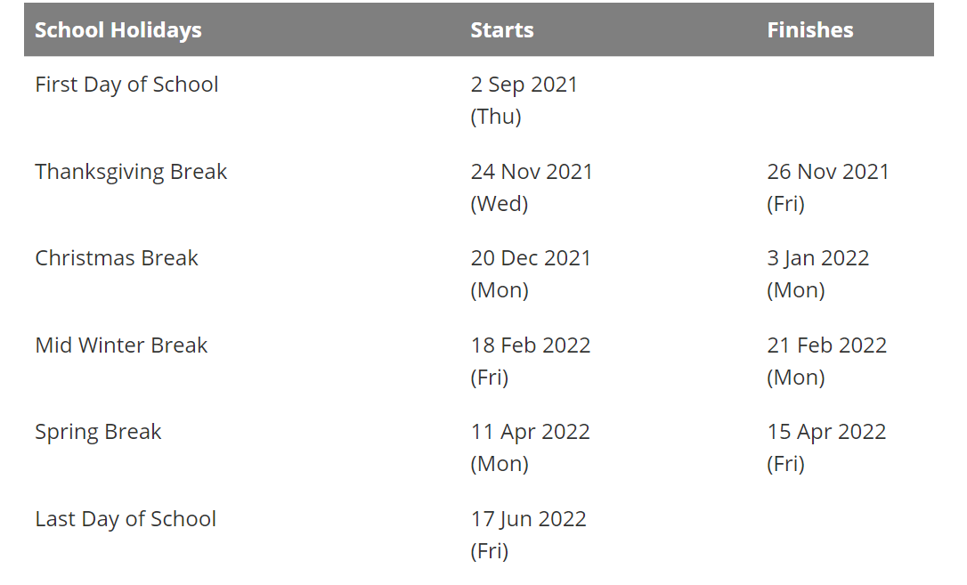 Puyallup School District Holidays Calendar 2021-2022
