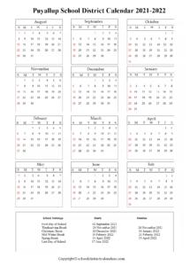 Puyallup School District, Washington Calendar Holidays 2021-2022