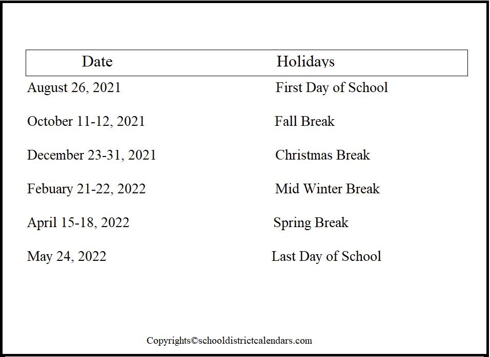 Sioux Falls County School District Proposed Calendar 2021-2022