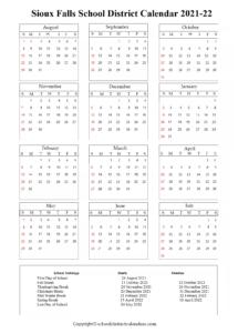Sioux Falls School District, South Dakota Calendar Holidays 2021-22