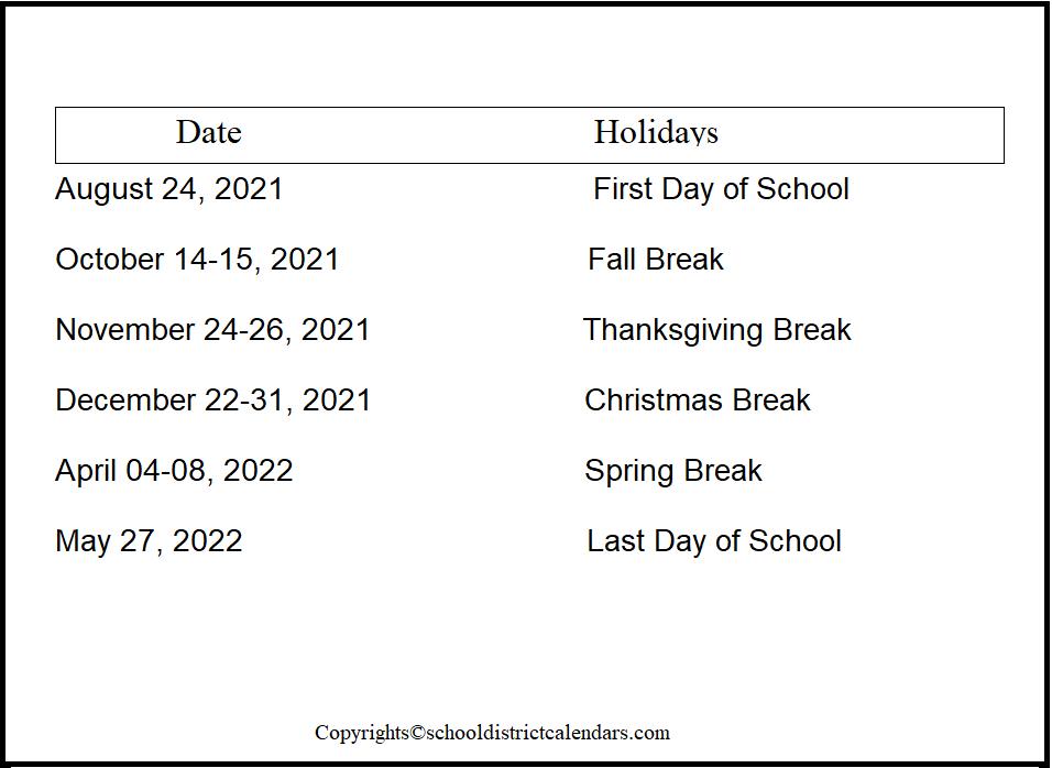Weber County School District Proposed Calendar 2021-2022