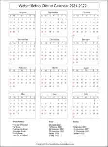 Weber School District Calendar 2021-2022